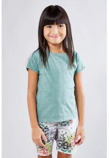Camiseta Infantil Basica Lisa Reserva Mini Feminina - Feminino-Verde Claro