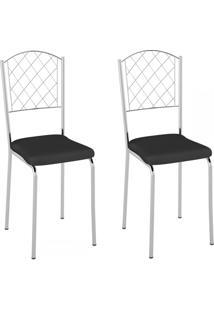 Cadeiras Kit 2 Cadeiras Pc18 Vinil Preto/Cromado - Pozza