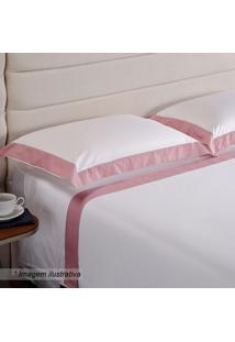 Jogo De Cama Hotel King Size- Branco & Rosa- 4Pçs