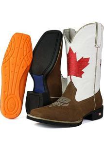 Bota Texana Sapatofran Canadá Bico Quadrado Masculina - Masculino-Marrom+Branco