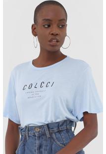 Camiseta Colcci Lettering Azul - Azul - Feminino - Viscose - Dafiti