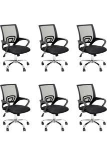 Conjunto Com 6 Cadeiras De Escritório Secretária Giratórias Java Preto
