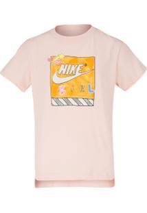 Camiseta Nike Sportswear Dptl Feminina - Infantil - Rosa Cla/Branco