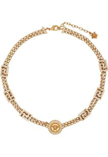 Versace Crystal Embellished Medusa Chain Necklace - Dourado
