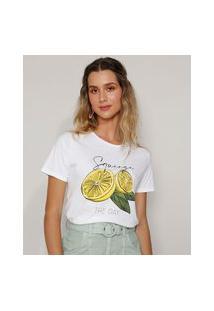 Camiseta Feminina Limão Manga Curta Decote Redondo Off White
