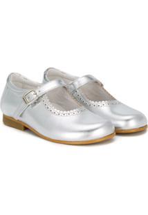 Andanines Shoes Sapatilha De Couro Com Detalhe Ondulado - Cinza