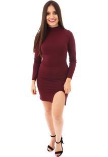 Vestido Moda Vício Gola Careca Com Fenda Vinho