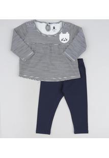 Conjunto Infantil Blusa Listrada Gatinho Manga Longa + Calça Legging Preto