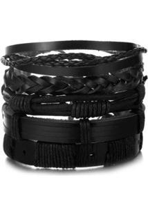 Bracelete Pulseira 5 Em 1 Masculina Artestore Em Couro Feminino - Feminino-Preto