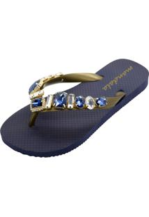 Chinelo Mandala Cristal Azul Marinho