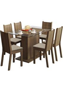 Sala De Jantar Madesa Base De Madeira Com Tampo De Vidro E 6 Cadeiras Gales - Rústico E Pérola