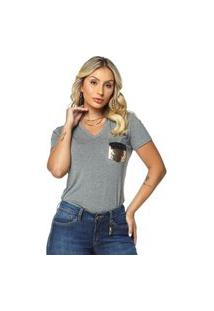 T-Shirt Daniela Cristina Gola V 05 602Dc10288 Cinza