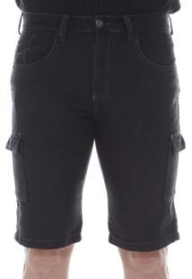 Bermuda Preston Jeans Cargo Preta