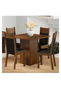 Conjunto Sala De Jantar Madesa Malibu Mesa Tampo De Madeira Com 4 Cadeiras Marrom