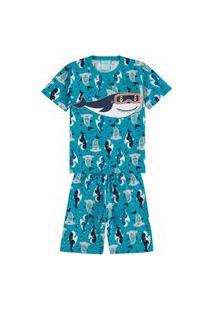 Pijama Infantil Kyly Bermuda E Camiseta Tubarões Verde