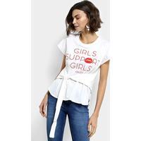 489773a1e Camiseta Colcci Laço Girls Support Feminina - Feminino-Off White