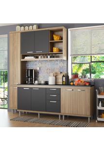 Cozinha Compacta 8 Portas 3 Gavetas Sicilia 5813 Argila/Grafite Premium - Multimóveis