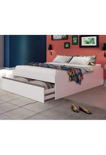 Cama Casal Com Gavetão Auxiliar Versátil Móveis Castro Branco Tx Aluminio
