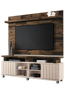 Rack Bancada Com Painel Para Tv Até 70 Pol. Briz H01 Off White/Deck -