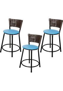 Banquetas Baixa Para Cozinha Hawai Café 3Un Assento Preto/Azul