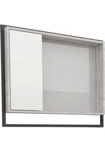 Espelheira Para Banheiro 80Cm Mdf Apoema Branco Com Calcare 79,5X70X13,2Cm - Cozimax - Cozimax