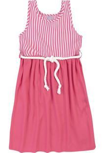Vestido Infantil Menina Em Tecido De Viscose E Cinto De Corda Hering Kids