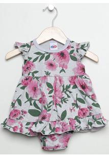 Vestido Floral Com Babados - Cinza & Rosa -Babytip Top