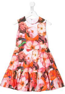 Msgm Kids Vestido Com Estampa Floral - Vermelho