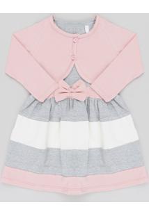 Vestido Infantil Sem Manga Cinza Mescla + Bolero Manga Longa Rosa Claro Rosa Claro