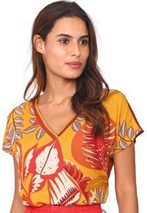 Camiseta Mob Floral Damasco Marrom/Amarela