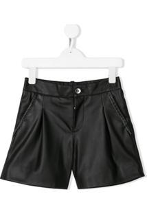 Pinko Kids Faux-Leather Shorts - Preto
