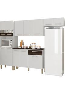 Cozinha Compacta Versalhes Branco/White/Petróleo 12 Portas 1 Gaveta E Balcão Com Tampo - Kits Paraná