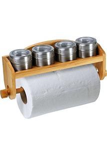 Porta Condimentos Welf Em Bambu Com Acessórios - 5 Peças