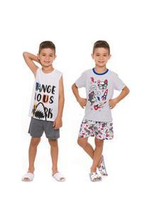 Kit 2 Pijamas Infantil Menino Shark E Cool