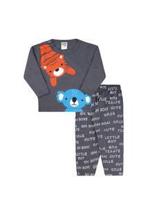 Pijama Bebê Masculino Camiseta Manga Longa E Calça Grafite Tigre E Coala (P/M/G) - Jidi Kids - Tamanho G - Grafite