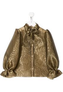 Dolce & Gabbana Kids Blusa Translúcida - Dourado