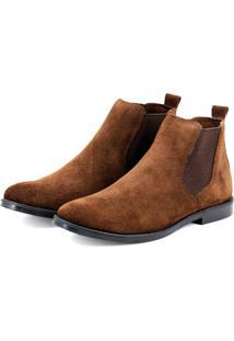 Bota Javali Chelsea Boots De Couro Marrom