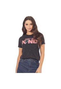 T-Shirt Feminina Com Estampa Escritas E Raio Azul (34294) G Preto