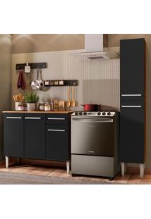 Cozinha Compacta Madesa Emilly Silver Com Balcão E Paneleiro - Rustic/Preto Marrom