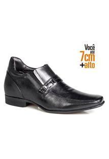 Sapato Social Couro Rafarillo Masculino Salto 7Cm Elástico Preto