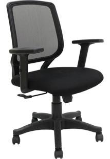 Cadeira De Escritório Com Braços Ajustáveis Avila-Rivatti - Preto