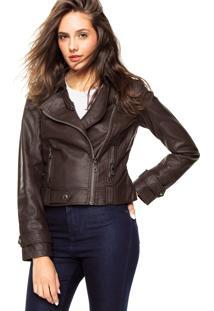 Jaqueta Ellus Leather Denim Marrom