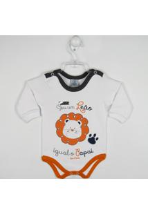 a506794514 Body Bebê Manga Longa Leãozinho - Masculino-Branco