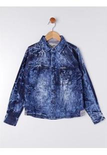 Camisa Jeans Manga Longa Infantil Gangster Masculina - Masculino-Azul