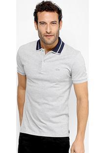 d16a07643c565 Camisa Polo Lacoste Piquet Slim Fit Fancy Contraste Masculina - Masculino -Cinza