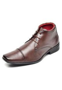 Sapato Social Cano Alto Top Flex Bico Quadrado Com Pesponto Aparente Marrom
