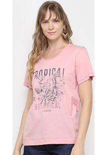 Camiseta Colcci Tropical Feminina - Feminino-Rosa