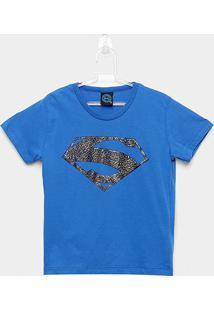Camiseta Infantil Kamylus Meia Malha Liga Da Justiça Masculina - Masculino-Azul
