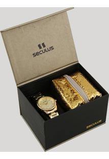 Kit De Relógio Analógico Seculus Feminino + Mini Kit Viagem - 20564Lpskds1K1 Dourado - Único
