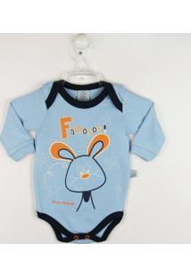 Body Bebê Manga Longa Coelhinho - Masculino-Azul